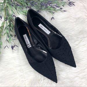Zara Basic Black Lace Pointed Toe Flats